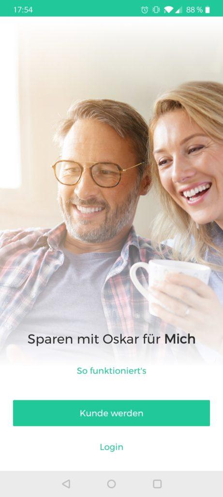 Die Startseite der Oskar App